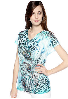 New Directions Peacock Feather Printed Top