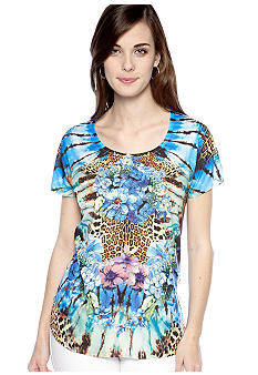 New Directions Animal and Floral Mirror Print Top