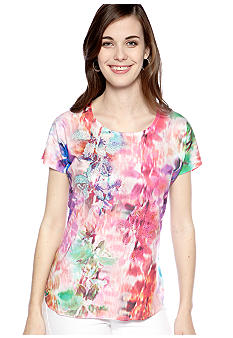 New Directions Tie Dye Printed Top