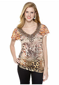 New Directions V Neck Side Ruched Embellished Tee