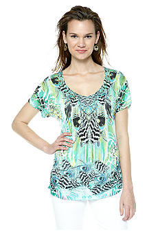 New Directions V Neck Side Ruched Tee