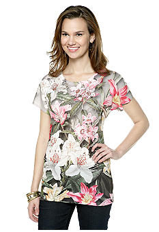 New Directions Scoop Neck Floral Tee