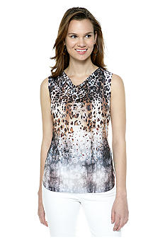 New Directions Embellished Drape Neck Tee