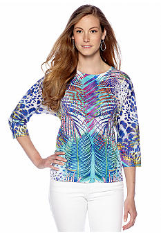 New Directions Palm Printed Dolman Top