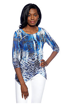 New Directions Embellished Zig Zag Hem Top