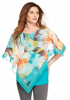 New Directions Multi Abstract Floral Poncho Overlay Blouse