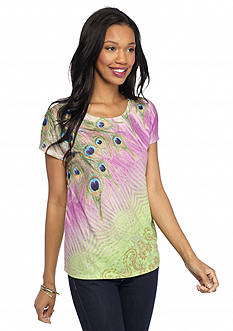New Directions Weekend Studded Peacock Shirttail Tee