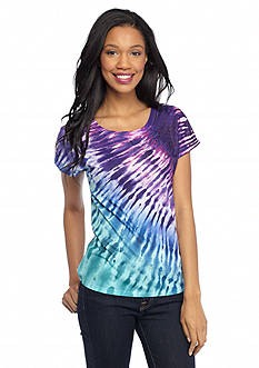 New Directions Weekend Studded Tie Dye Shirttail Tee