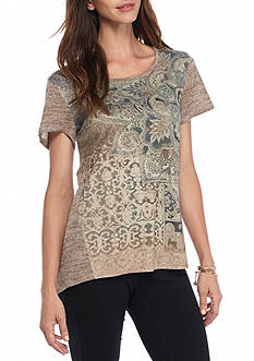 New Directions Weekend Faux Suede Knit Back Top