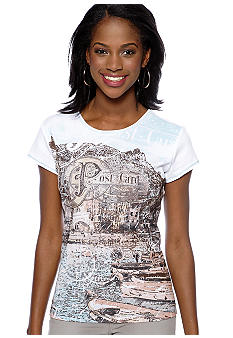 New Directions Petite Cap Sleeve T-Shirt in Seaside Post Card Print