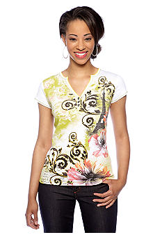 New Directions Petite Short Sleeve Henley Tee with Eiffel Tower Print