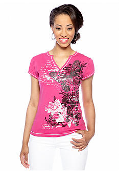 New Directions Petite Short Sleeve Henley Tee with Butterfly Print