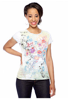 New Directions Petite Short Sleeve Tee with Poppy Print