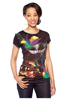 New Directions Petite Short Sleeve Tee with Mask Print