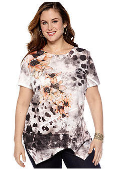 New Directions Plus Size Uneven Hem Tee
