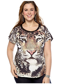 New Directions Plus Size Studded Cheetah Tee