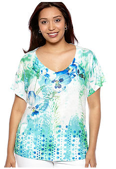 New Directions Plus Size Embellished Floral Tee
