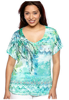 New Directions Plus Size Embellished Palm Front Tee