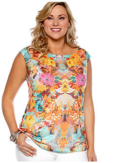 New Directions Plus Size Floral Print Tank