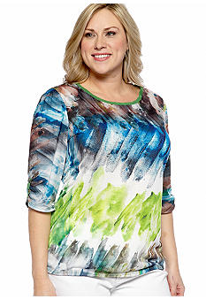 New Directions Plus Size Brushed Watercolor Top