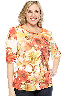 New Directions Plus Size Embellished Floral Top