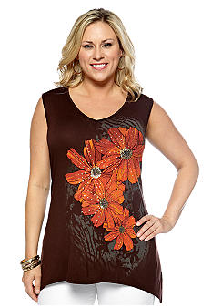 New Directions Plus Size Bar Back Embellished Tank