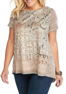 New Directions Weekend Plus Size Printed Faux Suede Swing Top