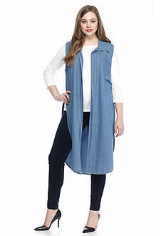 New Directions Weekend Plus Size Longline Chambray Vest