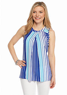 New Directions Petite Vertical Stripe Crepe Top