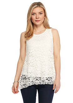 New Directions Petite Lace Flyaway Back Top