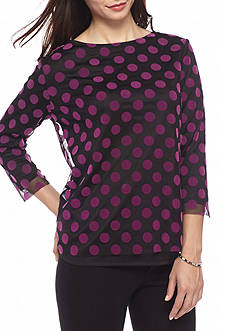 New Directions Petite Size Long Sleeve Dot Spit Back Knit Top