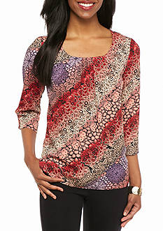 New Directions Petite Pleated Front Woven Top