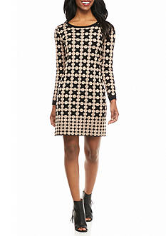 New Directions Petite Dot Printed Knit Dress