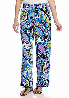 New Directions Petite Floral Mixed Print Soft Pants