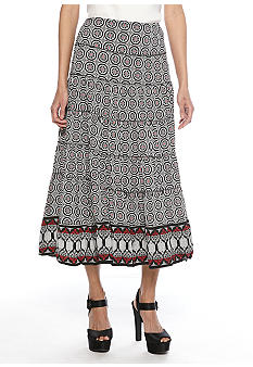 Sophie Max Printed Long Tiered Skirt
