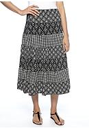 Sophie Max Printed Matte Jersey Long Tiered Skirt