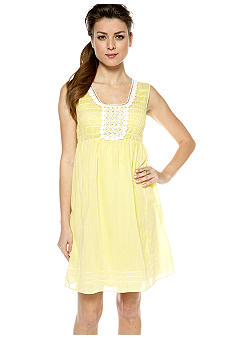 Sophie Max Sleeveless Smocked Dress with Lace Embellishment