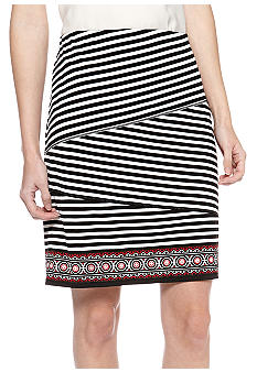 Sophie Max Stripe Print Pencil Skirt