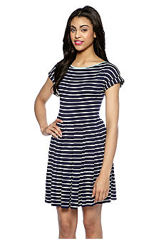 Sophie Max Short Sleeve Stripe Jersey Pleated Dress