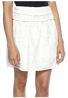 Sophie Max Embroidered Voile Skirt with Smocked Waistband