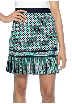 Sophie Max Printed Matte Jersey Pencil Skirt with Pleated Hemline