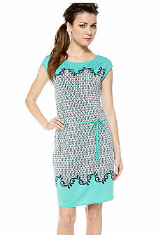 Sophie Max Cap Sleeve Printed Dress with Tie On Waistband
