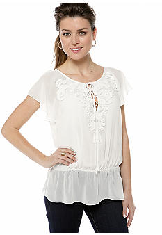 Sophie Max Soutache Lace Up Peplum Top
