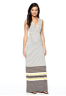 Sophie Max Stripe Print Braided Maxi Dress