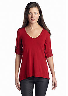Sophie Max V-Neck Roll Tab Jersey Top