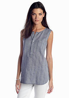 Sophie Max Chambray Stripe Sleeveless Gauze Top