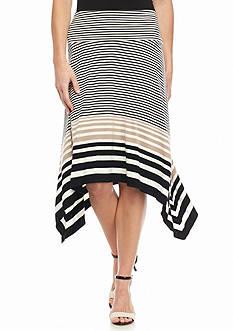 Sophie Max Striped Sharkbite Hem Skirt