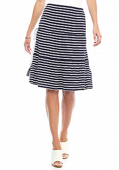 Sophie Max Striped Knit Tiered Skirt