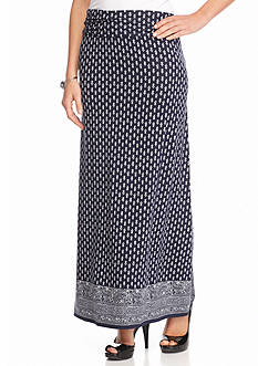 Sophie Max Foldover Waist Printed Maxi Skirt