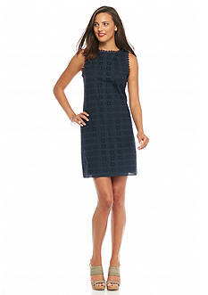Sophie Max Solid Navy Eyelet Dress